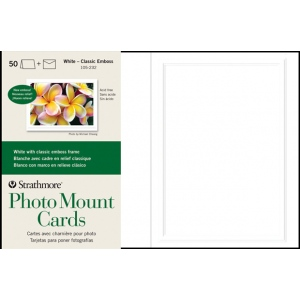 "Strathmore® Embossed Photo Mount Cards 50-Pack: White/Ivory, Card, 50 Cards, 5"" x 6 7/8"", Mounting, (model ST105-232), price per 50 Cards"