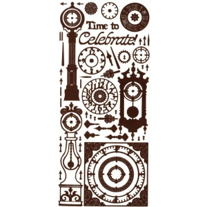 "Dazzles™ Stickers Brown Clock; Color: Brown; Size: 4"" x 9""; Type: Outline; (model HOTP1658), price per each"