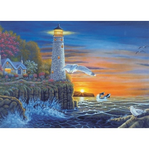 "Royal & Langnickel® Painting by Numbers™ 12 3/4 x 15 3/4 Adult Set Waterside Lighthouse; Board Size: 12 3/4"" x 15 3/4""; (model PAL18), price per set"