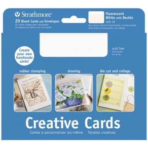"Strathmore® 5 x 6.875 Fluorescent White/Deckle Creative Cards 20-Pack; Color: White/Ivory; Envelope Included: Yes; Format: Card; Quantity: 20 Cards; Size: 5"" x 6 7/8""; Weight: 80 lb; (model ST105-16), price per 20 Cards"