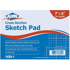 "Alvin® Cross Section Sketch Pad 7"" x 5""; Format: Pad; Grid Size/Pattern: 4"" x 4""; Quantity: 10 Sheets; Size: 5"" x 7""; (model 1424-1), price per 10 Sheets pad"