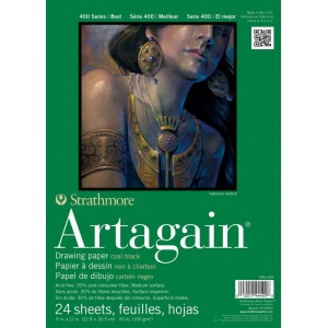 """Strathmore® Artagain® 400 Series 9"""" x 12"""" Coal Black Glue Bound Pad; Binding: Glue Bound; Color: Black/Gray; Format: Pad; Quantity: 24 Sheets; Size: 9"""" x 12""""; Weight: 60 lb; (model ST445-109), price per 24 Sheets pad"""