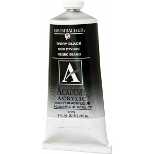 Grumbacher® Academy® Acrylic Paint Ivory Black: Black/Gray, Tube, 90 ml, Acrylic, (model GBC115B), price per tube