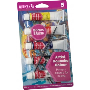 Reeves™ 22ml Gouache 5-Color Paint Set : Multi, Tube, 22 ml, Gouache, (model 8210123), price per set