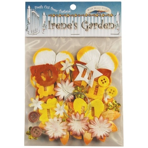Blue Hills Studio™ Irene's Garden™ Potpourri Paper Flower & Embellishment Pack Yellows; Color: Yellow; Material: Paper; Size: 20 mm, 30 mm, 50 mm - 52 mm; Type: Dimensional; (model BHS35), price per pack
