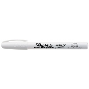 Sharpie® Oil Paint Marker Fine White; Color: White/Ivory; Ink Type: Paint; Tip Type: Fine Nib; (model SN35543), price per each