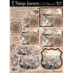 """Hot Off the Press 3-D Papier Tole Die Cuts Vintage Journeys; Color: Multi; Size: 8 1/2"""" x 11""""; (model HOTP8026), price per set"""