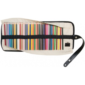 Heritage Arts™ Roll-Up Pencil Case: 36 Pencils, Black/Gray, White/Ivory, Canvas, Case, (model SPC36), price per each