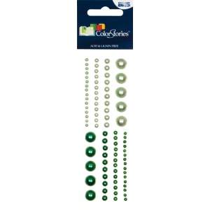 "Blue Hills Studio™ ColorStories™ Adhesive Pearls Green; Color: Green; Material: Gem; Size: 2"" x 5 3/4""; Type: Dimensional; (model BHS10303), price per each"
