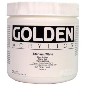 Golden® Heavy Body Acrylic 16 oz. Titanium White: White/Ivory, Jar, 16 oz, 473 ml, Acrylic, (model 0001380-6), price per each
