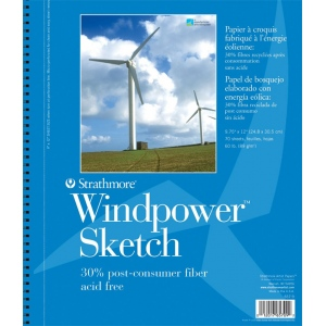 "Strathmore® Windpower™ 9"" x 12"" Wire Bound Sketch Pad; Binding: Wire Bound; Color: White/Ivory; Format: Pad; Quantity: 70 Sheets; Size: 9"" x 12""; Weight: 60 lb; (model ST657-9), price per 70 Sheets pad"