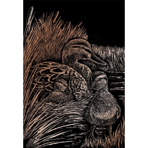 "Royal & Langnickel® Engraving Art Set Copper Foil Ducks; Board Size: 8"" x 10""; Color: Metallic; (model COPF19), price per set"