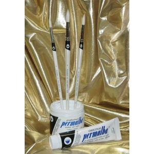 Permalba Oil Brush White Bristle Perfect Round: Set of 3