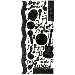 """Dazzles™ Stickers Music Black; Color: Black/Gray; Size: 4"""" x 9""""; Type: Outline; (model HOTP2019), price per each"""