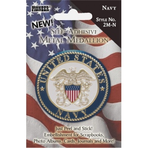 "Pioneer® Self-Adhesive Metal Military Medallion Navy ; Color: Multi; Size: 2""; Type: Dimensional; (model 2M-N), price per each"