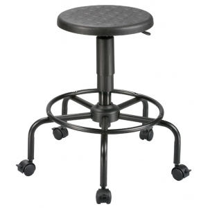 "Alvin® Utility Stool; Arm Rest Included: No; Color: Black/Gray; Foot Ring Included: Yes; Height Range: Under 24""; Seat Material: Polyurethane; (model DC207A), price per each"