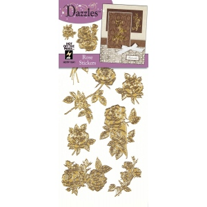 "Dazzles™ Stickers Gold Rose; Color: Metallic; Size: 4"" x 9""; Type: Outline; (model HOTP1841), price per each"