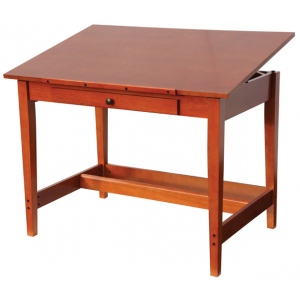 "Alvin® Vanguard™ Drawing Room Table 28"" x 42""; Angle Adjustment Range: 0 - 45; Base Color: Brown; Base Material: Rubber Wood; Drawer Size: 11 1/2""l x 21""w x 1 3/8""h; Height: 30""; Top Color: Brown; Top Material: Rubber Wood; Top Size: 28"" x 42""; (model VAN42), price per each"