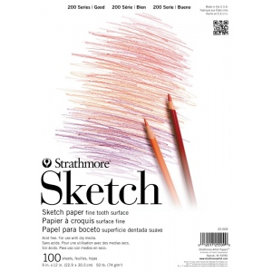 "Strathmore® 200 Series 11"" x 14"" Tape Bound Sketch Pad: Tape Bound, White/Ivory, Pad, 100 Sheets, 11"" x 14"", 50 lb, (model ST25-521), price per 100 Sheets pad"