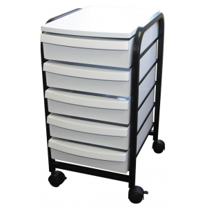 "Alvin® Mobile Organizer White: White/Ivory, Plastic, 5-Drawer, 13 3/4""d x 17 1/4""w x 25 1/2""h, (model TAB33), price per each"