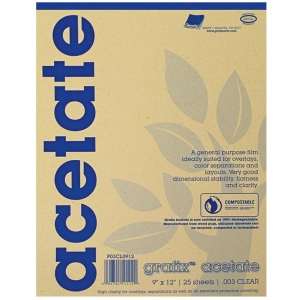"""Grafix® 9"""" x 12"""" Biodegradable Clear Acetate; Color: Clear; Format: Pad; Quantity: 25 Sheets; Size: 9"""" x 12""""; Thickness: .005""""; (model 5CL0912), price per 25 Sheets pad"""