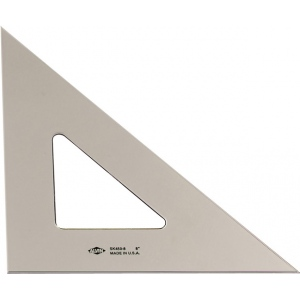 "Alvin® 12"" Smoke-Tint Triangle 45°/90°: 45/90, Black/Gray, Clear, Polystyrene, 12"", Triangle, (model SK450-12), price per each"