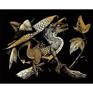 "Royal & Langnickel® Engraving Art Set Gold Baby Dragon; Board Size: 8"" x 10""; Color: Metallic; (model GOLF28), price per set"