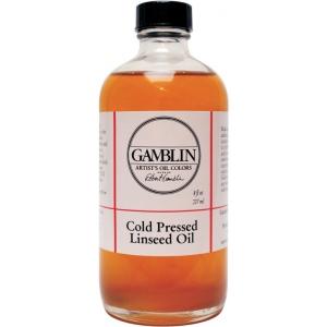 Gamblin Cold Pressed Linseed Oil 8oz: 8 oz, Linseed Oil, (model G07008), price per each