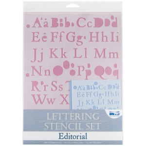Blue Hills Studio Lettering Stencil Set: Editorial, 4 Pieces: drafting template