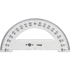 "Alvin® 6"" Semicircular Protractors; Color: White/Ivory; Material: Plastic; Size: 6""; Type: Protractor; (model P466), price per each"