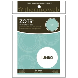 Therm O Web Zots™ Removable Single Adhesive Dots Jumbo; Color: Clear; Material: Glue; Shape: Round; (model TW3696), price per pack