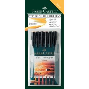 "Faber-Castell PITT Artist Pen ""Terra"" Earth Color: Wallet of 6 pens"