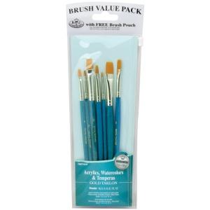 Royal & Langnickel® 9100 Series  Zip N' Close™ Teal Blue 7-Piece Brush Set 16; Length: Short Handle; Material: Taklon; Shape: Shader; Type: Acrylic, Tempera, Watercolor; (model RSET-9187), price per set