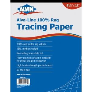 "Alvin® Alva-Line 100% Rag Vellum Tracing Paper 50-Sheet Pad 9 x 12; Format: Pad; Quantity: 50 Sheets; Size: 9"" x 12""; Type: Tracing; Weight: 16 lb; (model 6855/P-2), price per 50 Sheets pad"