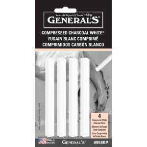 General's® White Compressed Charcoal Sticks: White/Ivory, Stick, Compressed, (model 958BP), price per pack