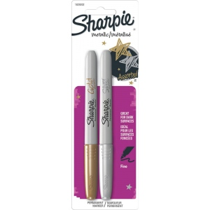 Sharpie® Fine Point Metallic Gold/Silver Permanent Marker Set: Metallic, Fine Nib, (model SN1829202), price per pack