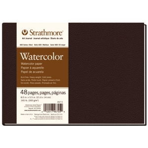 """Strathmore® 400 Series 8 1/2"""" x 5 1/2"""" Sewn Bound Watercolor Art Journal; Color: White/Ivory; Format: Journal; Quantity: 48 Sheets; Size: 8 1/2"""" x 5 1/2""""; Texture: Cold Press; Type: Watercolor; (model ST467-5), price per each"""