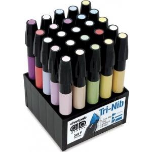 Chartpak® AD™ Marker 25-Color Pastel Set: Multi, Xylene-Based, Fine Nib, (model SETF), price per set