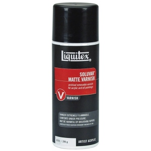 Liquitex® Soluvar® Matte Archival Removable Varnish Aerosol 295g; Finish: Matte; Size: 13.5 oz; Type: Varnish; (model L6125), price per each