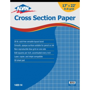 "Alvin® Cross Section Paper 8"" x 8"" Grid 50-Sheet Pad 17"" x 22""; Format: Pad; Grid Size/Pattern: 8"" x 8""; Quantity: 50 Sheets; Size: 17"" x 22""; Type: Drawing; Weight: 20 lb; (model 1422-14), price per 50 Sheets pad"