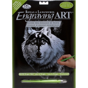 """Royal & Langnickel® Engraving Art Set Silver Dragon Wolf: 8"""" x 10"""", Metallic, (model SILF28), price per set"""
