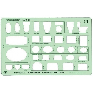 """Timely® Bathroom Plumbing Template; Scale: 1/2""""; (model 39T), price per each"""