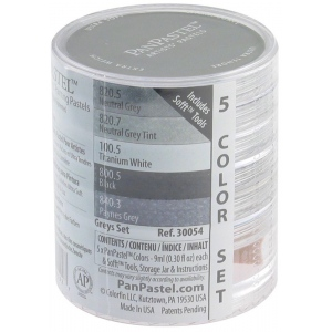 PanPastel® Ultra Soft Artists Painting Pastels Grey Set; Color: Black/Gray; Format: Pan; Type: Ultra Soft; (model PP30054), price per set