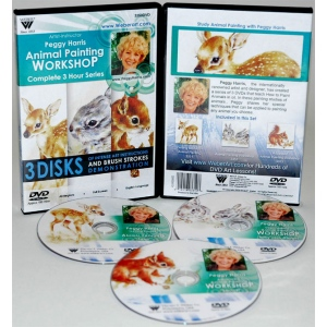 Peggy Harris's 3 Hour, 3 DVDs Set of Animal Oil Painting  Fawn, Baby Jack Rabbits and Squirrel,( Includes 3351, 3352, and 3353)