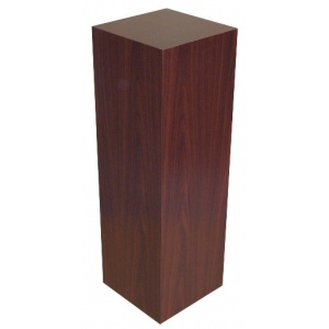 "Xylem Mahogany Stained Wood Veneer Pedestal: 15"" x 15"" Base, 12"" Height"