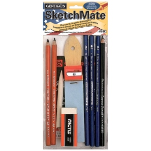 General's® SketchMate™ Charcoal & Graphite Drawing Kit; Color: Black/Gray; Type: Drawing; (model G49SK), price per set