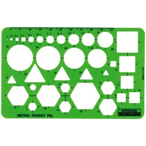 Rapidesign® Metric Pocket Pal Template; Scale: 100 mm; (model 2050R), price per each