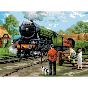 "Royal & Langnickel® Painting by Numbers™ 12 3/4 x 15 3/4 Adult Set Steam Train; Board Size: 12 3/4"" x 15 3/4""; (model PAL15), price per set"