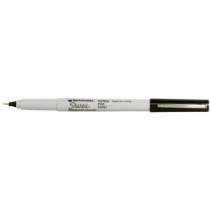 Sharpie® Ultra Fine Point Black Permanent Marker: Black/Gray, Fine Nib, (model SN37001), price per each