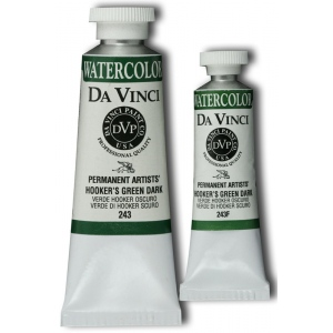 Da Vinci Artists' Watercolor Paint 37ml Hookers Green Dark; Color: Green; Format: Tube; Size: 37 ml; Type: Watercolor; (model DAV243), price per tube